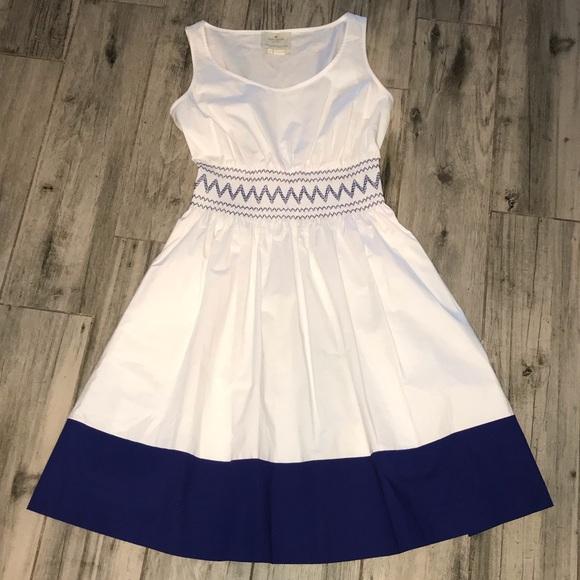 kate spade Dresses & Skirts - Kate Spade XS dress White Blue smocked knee length